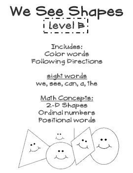 My Shape Book Sight Word Reader (2 Levels) we, see, a, I can, the