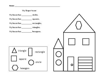 my shape house math worksheet by working wonders tpt. Black Bedroom Furniture Sets. Home Design Ideas