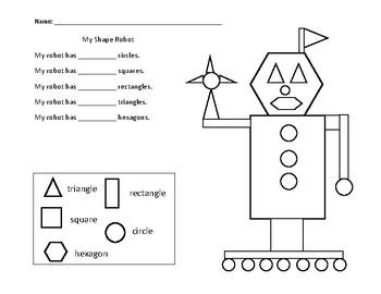 My Shape Robot Math Worksheet