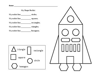 My Shape Rocket Math Worksheet by Working Wonders | TpT