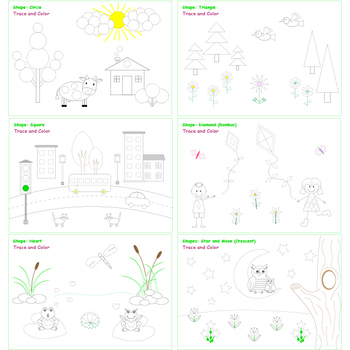 My Shapes Coloring Book. Trace and Color Project. Shape Learning Fun