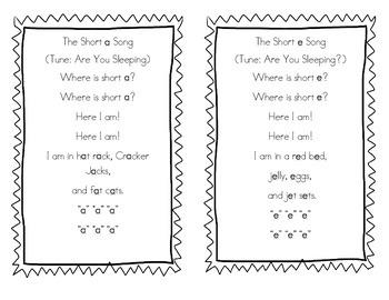 My Short Vowel Songbook