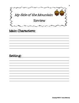 My Side Of the Mountain Literature Activities