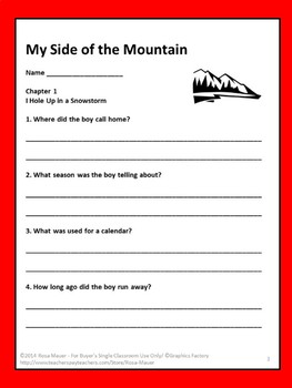 My Side of the Mountain Novel Study
