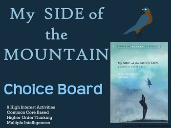 My Side of the Mountain Choice Board Novel Study Activities Menu Book Project