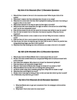My Side of the Mountain Discussion Questions and Quizzes