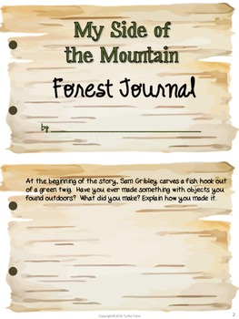 My Side of the Mountain Forest Journal and Word Search Puzzle