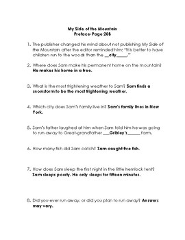 My Side of the Mountain Quiz/Discussion Set with Extra Activities