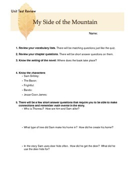 My Side of the Mountain Unit Test Review