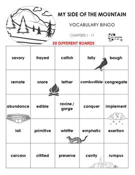 My Side of the Mountain Vocabulary Bingo
