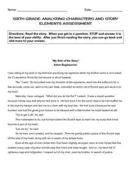 """My Side of the Story"" - CCSS 6th Grade Reading Assessment"
