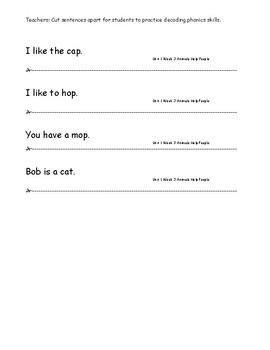 My Sidewalks Level A Unit 1 Week 3 Fluency Sentences