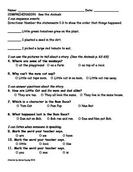 My Sidewalks Level A Unit 1 Week 4 Comprehension Test