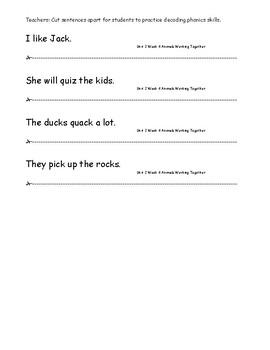 My Sidewalks Level A  Unit 2 Week 4 Fluency Sentences