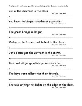 My Sidewalks Level A  Unit 5 Week 1 Fluency Sentences
