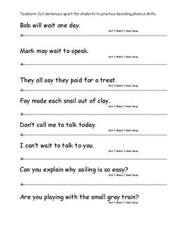 My Sidewalks Level A  Unit 5 Week 2 Fluency Sentences
