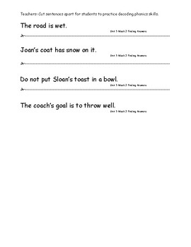 My Sidewalks Level A  Unit 5 Week 3 Fluency Sentences