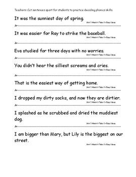 My Sidewalks Level A  Unit 5 Week 4 Fluency Sentences