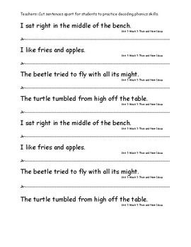 My Sidewalks Level A  Unit 5 Week 5 Fluency Sentences