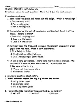 My Sidewalks Level B Unit 2 Week 5 Comprehension Test