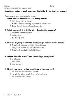 My Sidewalks Level B Unit 5 Week 1 Comprehension Test