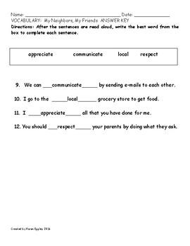 My Sidewalks Level B Unit 5 Week 4 Vocabulary Test