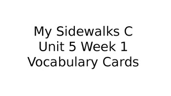 My Sidewalks Level C Unit 5 BUNDLE Vocabulary/Amazing Words Picture Cards