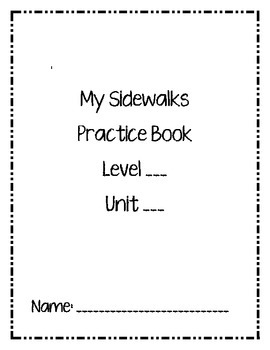 My Sidewalks Practice Book Cover Pages Level A & B
