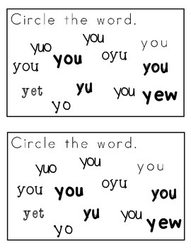 My Sight Word Book: you