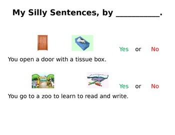 My Silly Sentences - Answering Yes/No questions.