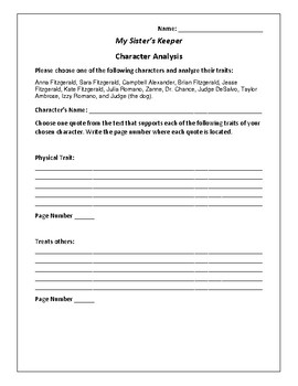 My Sister's Keeper - Character Analysis Activity - Jodi Picoult