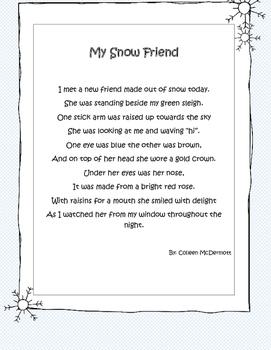 My Snow Friend: A Winter Fluency Poem