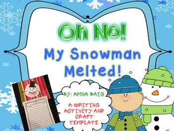 My snowman melted writing activity