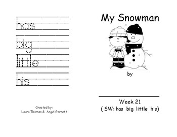 My Snowman Sight Word Book - Week 21