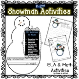 My Snowman at Night Winter Art and Writing for kindergarten & 1st grade