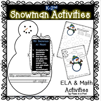 My Snowman at Night Winter Art and Writing for kindergarte