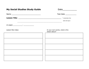 My Social Studies Study Guide (Chapter Guide)