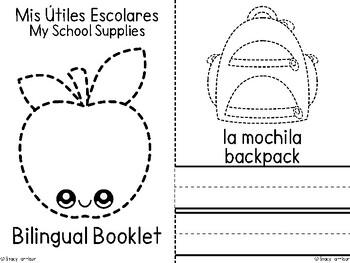 Mini-Booklet: My Spanish School Supplies (Mis Útiles  Escolares)