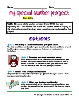 My Special Number Project for Factors, Multiples, and Prime Factorization