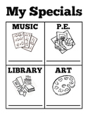My Specials Schedule and Coloring Page