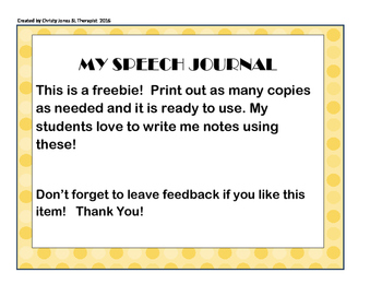 My Speech Journal- A Freebie For All Ages