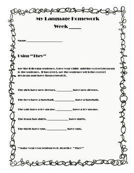 My Speech and Language Homework - A Year of Printables for Homework and RTI