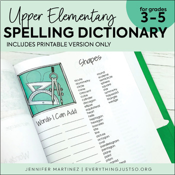 Personal Spelling Dictionary for Upper Elementary Students