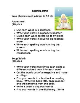 My Spelling Practice Menu
