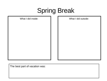 My Spring Break Graphic organizer