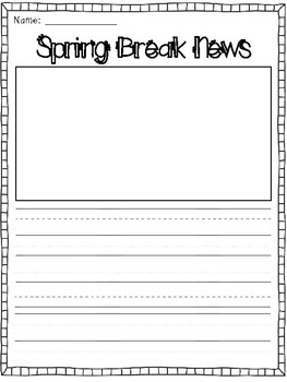 My Spring Break News {A Creative Writing Template}
