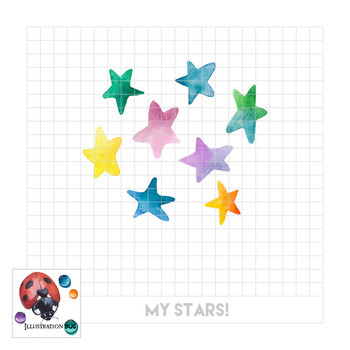 My Stars - Watercolor Star Clipart