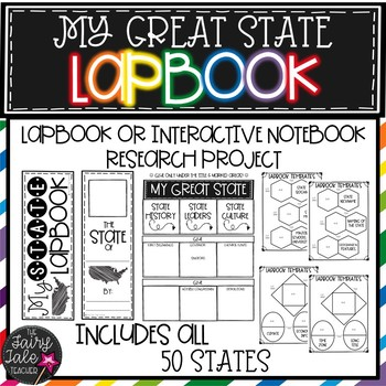 50 States Interactive Notebook, Lapbook Research Project