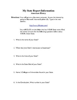 My State Report Worksheet