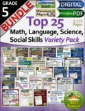 5th Grade Math, Reading, Science Top 20 Bundle